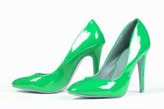 Shiny green shoes Stock Photos