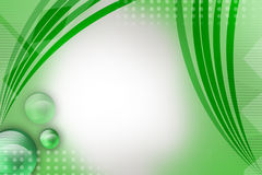 Shiny green stripes with bubbles on left, abstract background Royalty Free Stock Photos
