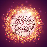Shiny greeting card for Christmas and New Year. Creative shiny greeting card design with stylish text Holiday Cheers for Merry Christmas and Happy New Year Stock Image