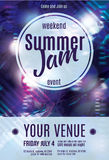 Shiny grunge summer jam flyer template design. Funky purple grunge flyer template design Royalty Free Stock Photo