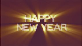 Shiny HAPPY NEW YEAR word text golden light rays moving on old vhs tape retro effect tv screen animation background. Text on old tv interference screen ... New stock video footage