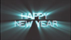Shiny HAPPY NEW YEAR word text white light rays moving on old vhs tape retro effect tv screen animation background. Text on old tv interference screen ... New stock video