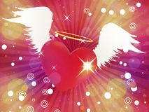 Shiny heart with angel wings Stock Photography
