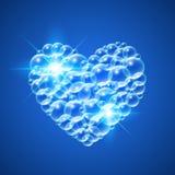 Shiny Heart of Bubbles. Shiny heart of transparent bubbles on dark blue background. Vector illustration Royalty Free Stock Photo