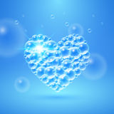Shiny Heart of Bubbles. Shiny heart of transparent bubbles underwater. Vector illustration Stock Image