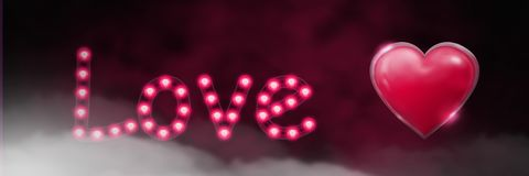 Shiny heart graphic with love text and fog. Digital composite of Shiny heart graphic with love text and fog Royalty Free Stock Photos