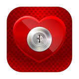 Shiny heart with a keyhole Royalty Free Stock Image
