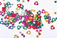 Shiny heart paper confetti. Royalty Free Stock Photography