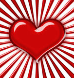 Shiny heart with rays. Dimensional shiny heart with rays Stock Images