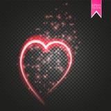 Shiny heart-shaped frame on transparent background. Holiday vector illustration. Vector Illustration of Valentine s day card for Design, Website, Banner. Shiny Stock Photos