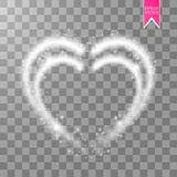 Shiny heart-shaped frame on transparent background. Holiday vector illustration. Vector Illustration of Valentine s day card for Design, Website, Banner. Shiny Stock Image