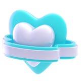 Shiny heart symbol with ribbon isolated Stock Photo