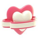 Shiny heart symbol with ribbon isolated Royalty Free Stock Photo
