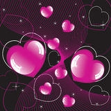 Shiny hearts Stock Images