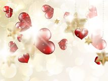 Shiny hearts bokeh light Valentine's day. EPS 10 Royalty Free Stock Photo