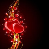 Shiny Hearts with golden lines Stock Images