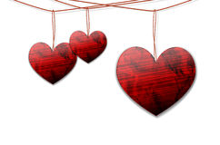 Shiny hearts hanging on the rope Royalty Free Stock Photo