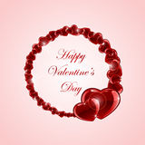 Shiny hearts on pink Valentines background Royalty Free Stock Photos