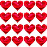 Shiny hearts with red petals and raindrops royalty free stock images