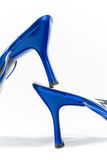 Shiny heels of blue shoes. Shiny heels of beautiful blue shoes (on white royalty free stock photos