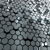 Shiny hexagon metal plate background. 3d render of hexagon metalplate abstract background Stock Image