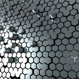Shiny hexagon metal plate background. 3d render of hexagon metalplate abstract background Stock Photography