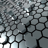 Shiny hexagon metal plate background. 3d render of hexagon metalplate abstract background Royalty Free Stock Images