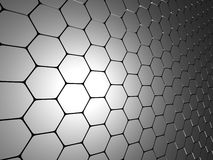 Shiny Hexagon Pattern Dark Metallic Silver Background. 3d Render Illustration Stock Image
