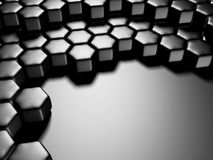 Shiny Hexagon Pattern Dark Metallic Silver Background. 3d Render Illustration Royalty Free Stock Photo