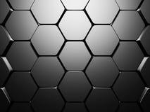 Shiny Hexagon Pattern Dark Metallic Silver Background. 3d Render Illustration Stock Photo