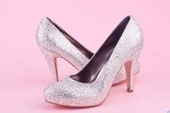 Shiny high heel shoes with rhinestones Stock Photo