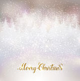 Shiny holiday background with winter snowy landscape and gold Me Stock Image