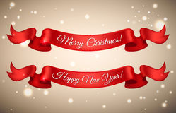 Shiny holiday Happy New Year and Merry Christmas red satin ribbo. N bow on snow background. Vector illustration vector illustration