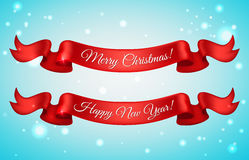 Shiny holiday Happy New Year and Merry Christmas red satin ribbon bow on snow background. Vector illustration.  Stock Photo