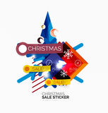 Shiny holiday New Year and Christmas sale banners. Vector promotional and info templates Royalty Free Stock Photos