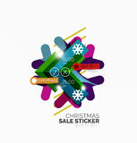 Shiny holiday New Year and Christmas sale banners. Vector promotional and info templates Stock Images