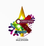 Shiny holiday New Year and Christmas sale banners. Vector promotional and info templates stock illustration