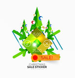 Shiny holiday New Year and Christmas sale banners Stock Photography