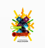 Shiny holiday New Year and Christmas sale banners. Vector promotional and info templates Stock Photos
