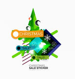 Shiny holiday New Year and Christmas sale banners. Vector promotional and info templates Royalty Free Stock Photo