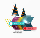 Shiny holiday New Year and Christmas sale banners. Vector promotional and info templates Stock Photo