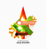 Shiny holiday New Year and Christmas sale banners. Vector promotional and info templates Stock Photography