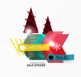 Shiny holiday New Year and Christmas sale banners. Vector promotional and info templates Royalty Free Stock Photography