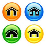 Shiny home icons Stock Photos