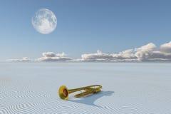 Shiny horn in desert Stock Photography