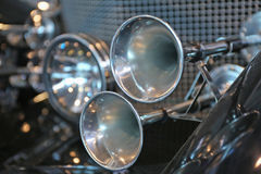 Shiny horns of an  car. Shiny horns of an old car Stock Photo