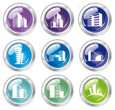 Shiny house icon collection Royalty Free Stock Photography