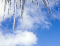 Shiny icicles against blue sky Royalty Free Stock Photos