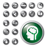 Shiny icons. Vector-set of icons and buttons Royalty Free Stock Photos