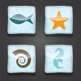 4 Shiny Icons Royalty Free Stock Photos